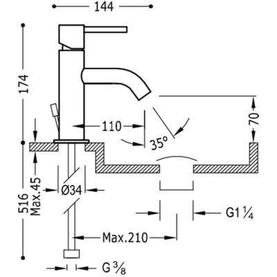 Tres Study-Tres 26290301D bateria umywalkowa stojąca chrom