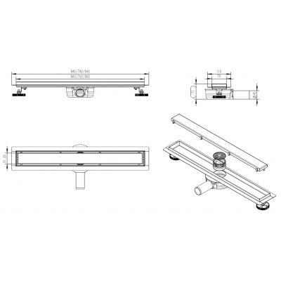 LaVita Plate Black 5908211470412 odpływ prysznicowy 80 cm